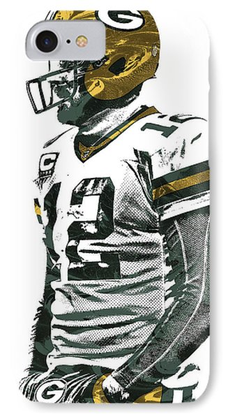 Aaron Rodgers Green Bay Packers Pixel Art 5 IPhone Case by Joe Hamilton