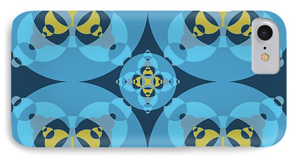 Abstract Mandala Cyan, Dark Blue And Yellow Pattern For Home Decoration IPhone Case