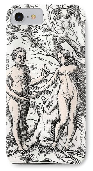 Adam And Eve In The Garden Of Eden From IPhone Case by Vintage Design Pics
