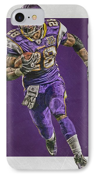 Adrian Peterson Minnesota Vikings Art IPhone Case by Joe Hamilton