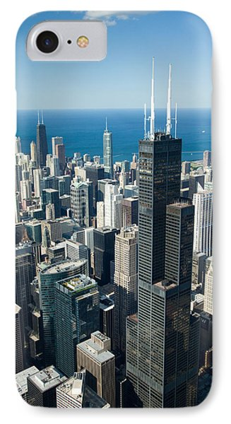 Aerial View Of A City, Lake Michigan IPhone Case by Panoramic Images