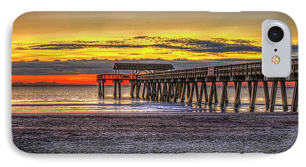 After The Storm Tybee Island Pier Sunrise Art IPhone Case by Reid Callaway