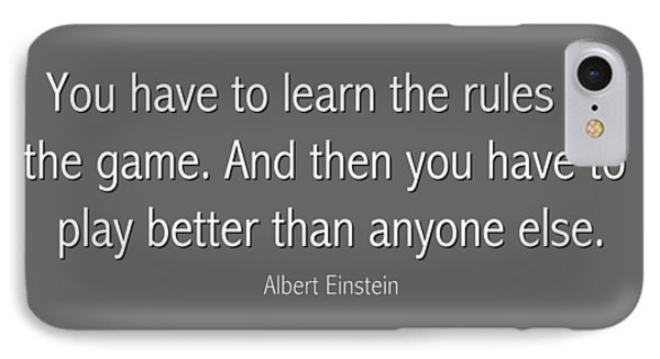 Albert Einstein Famous Quote In Gray IPhone Case by Celestial Images