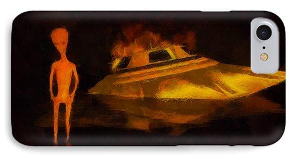 Alien Crash IPhone Case by Esoterica Art Agency