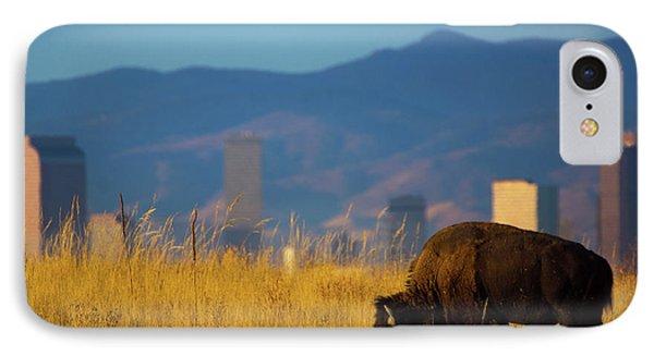 American Bison And Denver Skyline IPhone Case by John De Bord