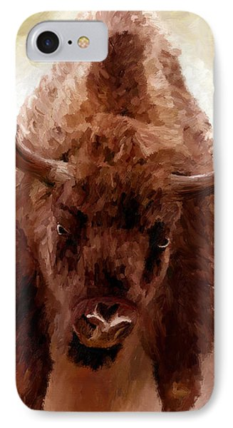IPhone Case featuring the painting American Bison by James Shepherd