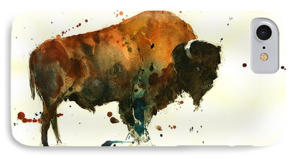 American Buffalo Watercolor IPhone Case by Juan  Bosco