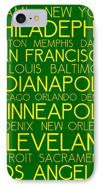 American Cities In Bus Roll Destination Map Style Poster  IPhone Case by Celestial Images