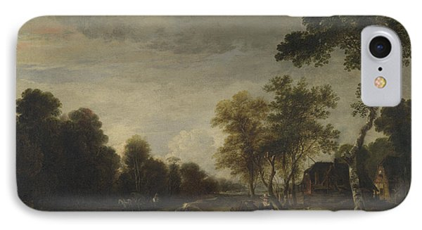 An Evening Landscape With A Horse And Cart By A Stream IPhone Case by Aert van der Neer