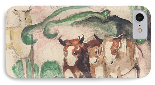Animals In A Landscape IPhone Case by Franz Marc