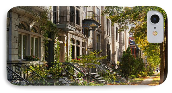 Apartment Buildings Along City Street IPhone Case by David Chapman