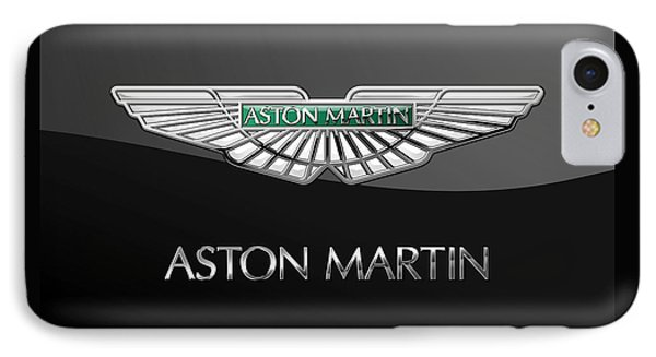 Aston Martin 3 D Badge On Black  IPhone Case by Serge Averbukh