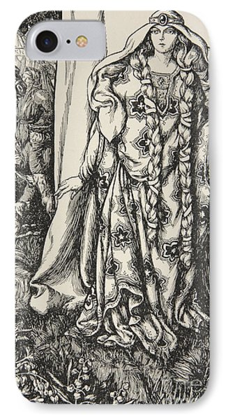 At The Door Of One Stood A Lady IPhone Case by Dora Curtis