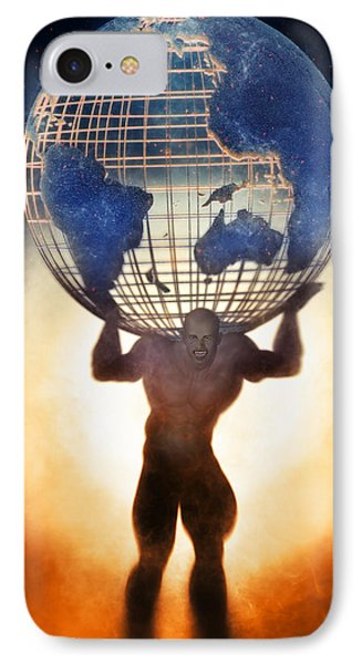 Atlas And The Luminous Universe IPhone Case by Quim Abella