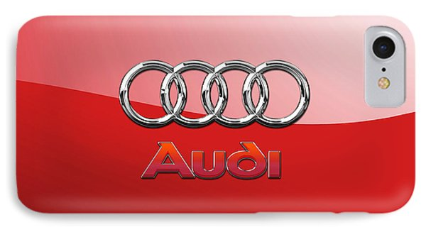 Audi - 3d Badge On Red IPhone Case by Serge Averbukh