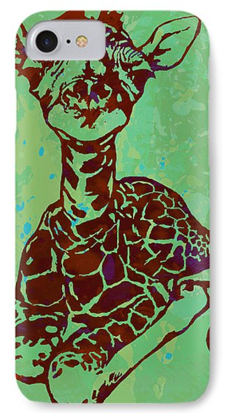 Baby Giraffe - Pop Modern Etching Art Poster IPhone 7 Case by Kim Wang