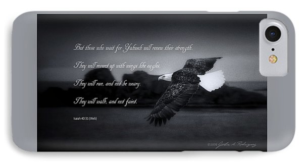 Bald Eagle In Flight With Bible Verse IPhone Case by John A Rodriguez