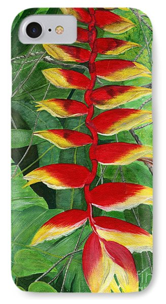 IPhone Case featuring the painting Balinese Heliconia Rostrata by Melly Terpening