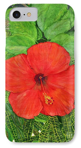 IPhone Case featuring the painting Balinese Hibiscus Rosa by Melly Terpening