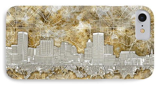 IPhone Case featuring the painting Baltimore Skyline Watercolor 13 by Bekim Art