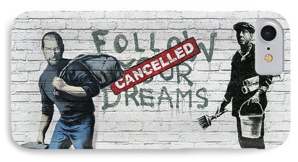 Banksy - The Tribute - Follow Your Dreams - Steve Jobs Phone Case by Serge Averbukh