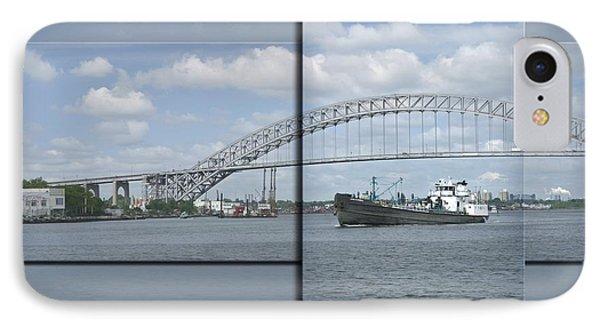 Bayonne Bridge And Boat Phone Case by Richard Xuereb