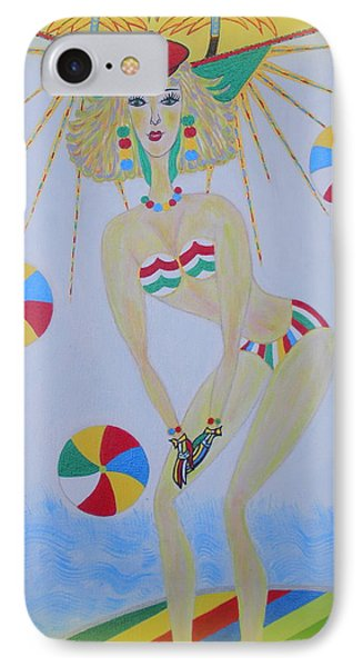 IPhone Case featuring the painting Beach Ball Surfer by Marie Schwarzer