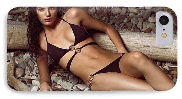 Beautiful Young Woman In Black Bikini On A Pebble Beach Phone Case by Oleksiy Maksymenko