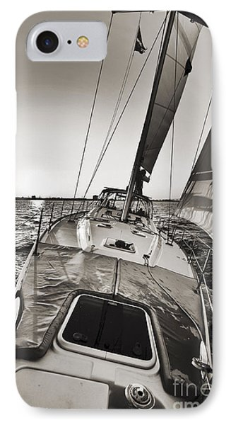 Beneteau 49 Sailing Yacht Close Hauled Charleston Sunset Sailboat IPhone Case