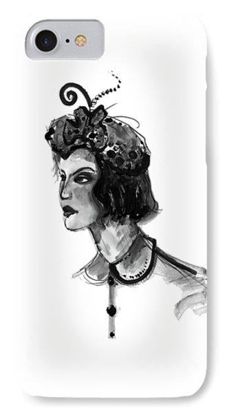 IPhone Case featuring the mixed media Black And White Watercolor Fashion Illustration by Marian Voicu