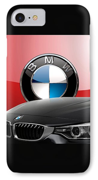 Black B M W - Front Grill Ornament And 3 D Badge On Red Phone Case by Serge Averbukh