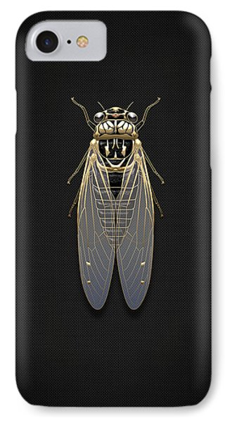 Black Cicada With Gold Accents On Black Canvas IPhone Case