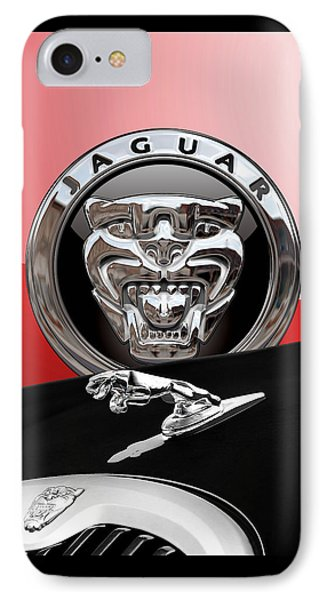 Black Jaguar - Hood Ornaments And 3 D Badge On Red Phone Case by Serge Averbukh