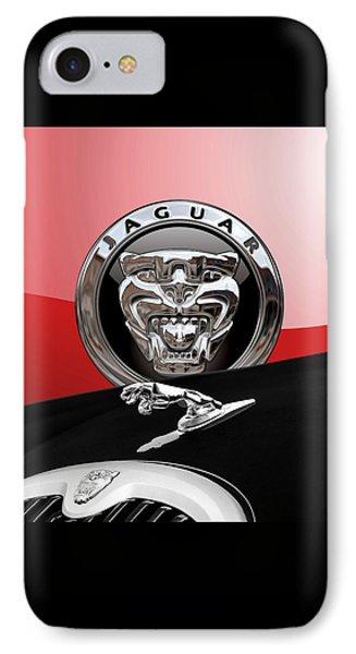 Black Jaguar - Hood Ornaments And 3 D Badge On Red Phone Case by Serge Averbukh