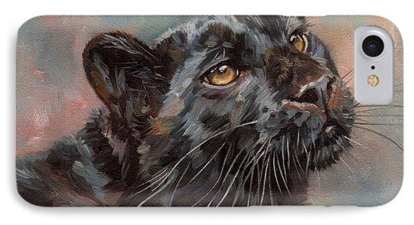 Black Leopard IPhone Case by David Stribbling