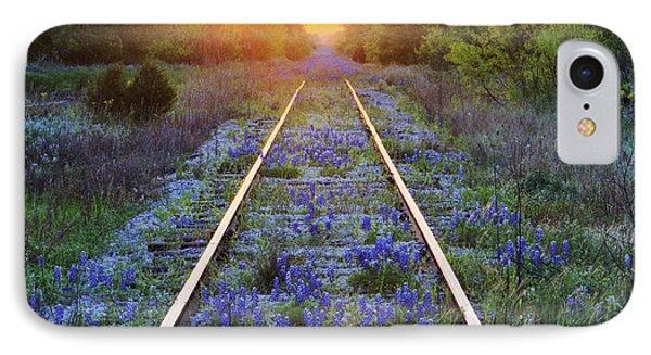 Blue Bonnets On Railroad Tracks Phone Case by Jeremy Woodhouse