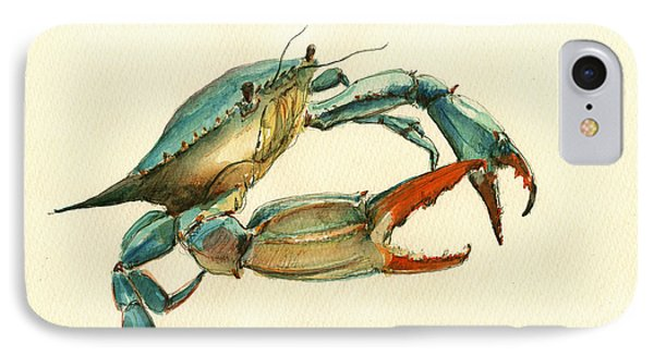 Blue Crab Painting IPhone Case by Juan  Bosco