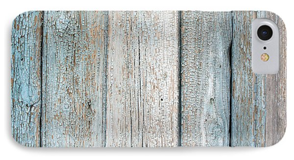 Blue Fading Paint On Wood IPhone Case by John Williams