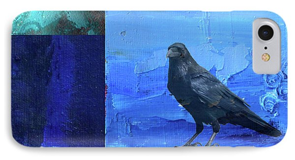 IPhone 7 Case featuring the digital art Blue Raven by Nancy Merkle