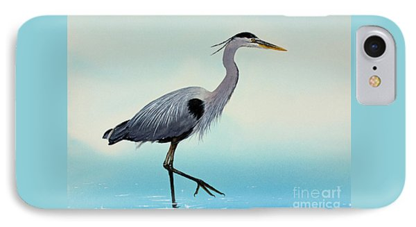 IPhone Case featuring the painting Blue Water Heron by James Williamson