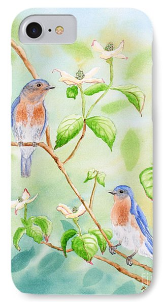 Bluebirds In Dogwood Tree Phone Case by Kathryn Duncan
