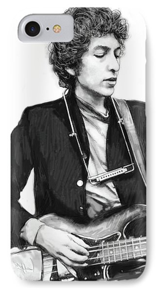 Bob Dylan Drawing Art Poster IPhone Case by Kim Wang