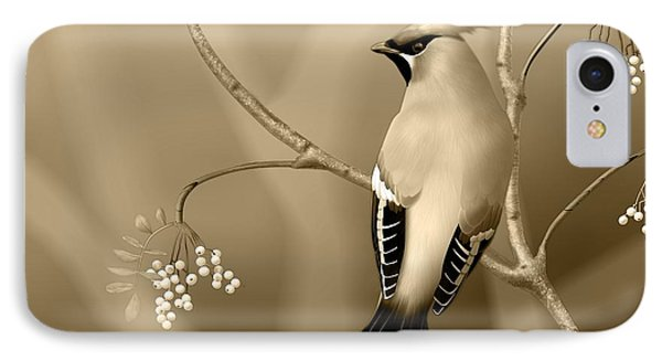 Bohemian Waxwing In Sepia IPhone Case by John Wills