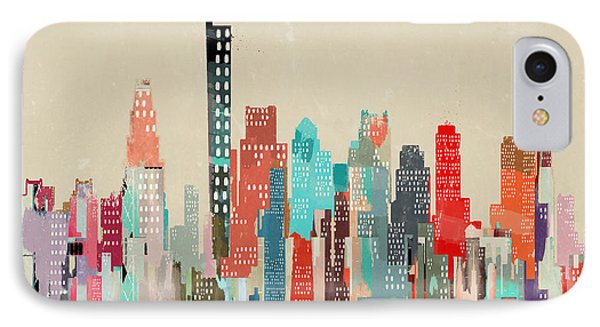 Boston City Skyline IPhone Case by Bri B