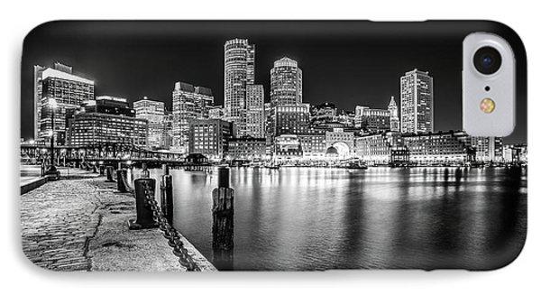 Boston Skyline At Night Black And White Photo IPhone Case by Paul Velgos