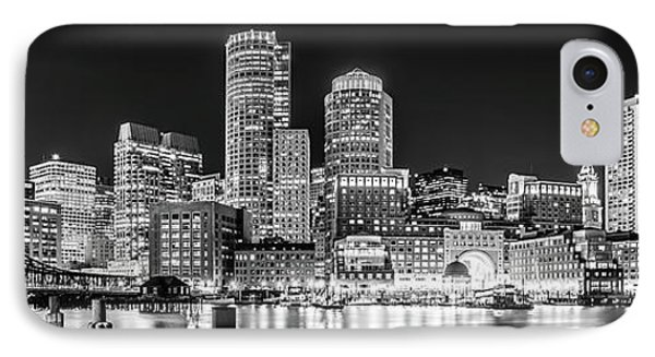 Boston Skyline Black And White Panorama Photo IPhone Case by Paul Velgos