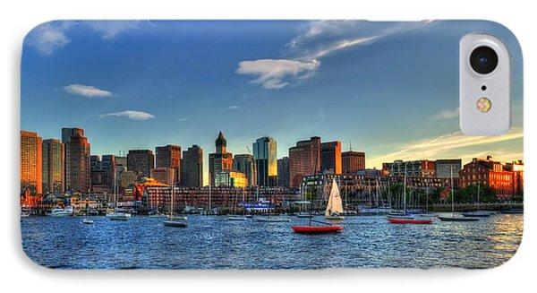 Boston Skyline - Boston Harbor IPhone Case by Joann Vitali