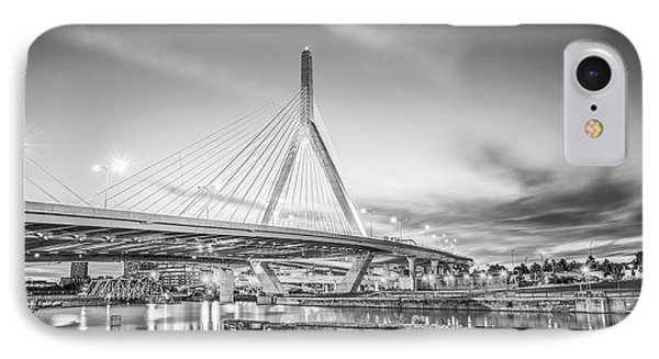 Boston Zakim Bridge At Night Black And White Photo IPhone Case by Paul Velgos