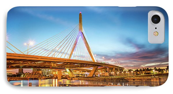 Boston Zakim Bridge At Night Photo IPhone Case by Paul Velgos