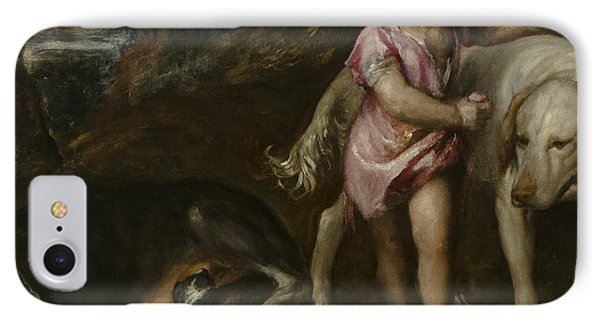 Boy With Dogs In A Landscape IPhone Case by Titian